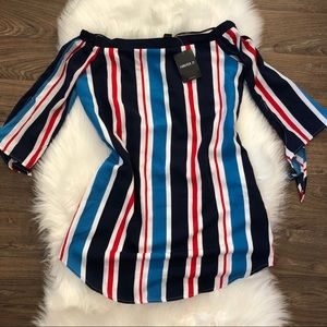 Striped Red white and Blue Off Shoulder Dress